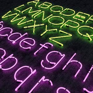 neon alphabet 3D