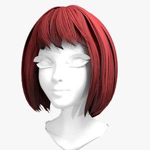 hair wig - short 3D model