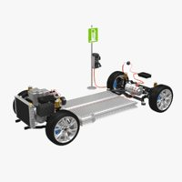 electric awd vehicle chassis 3D