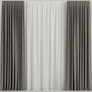 3D curtains brown