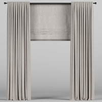 3D curtain roman brown model