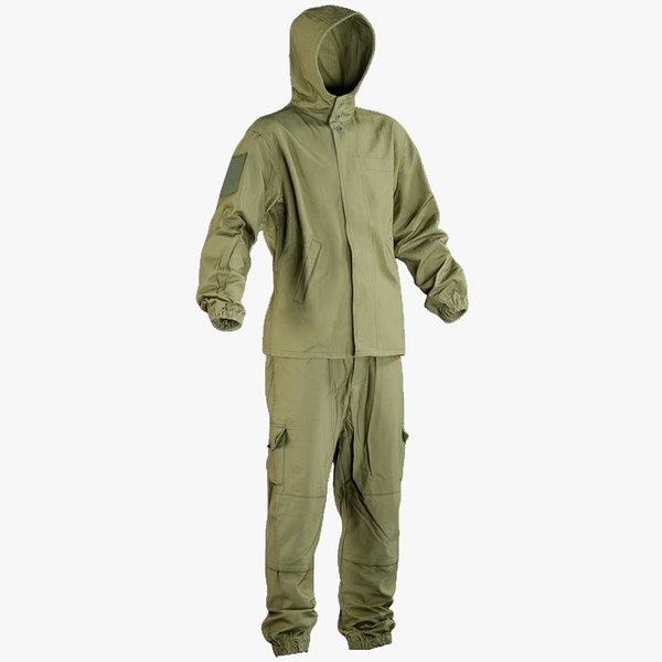 realistic military green uniform model
