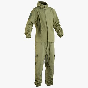realistic military green uniform 3D model