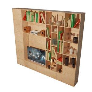 cabinet shelves tv 3D model