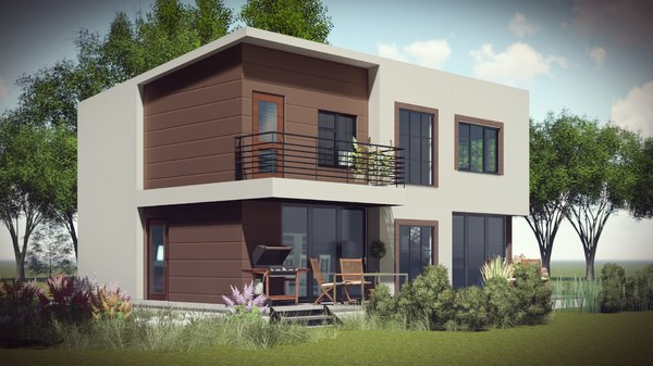 architecture duplex country house model