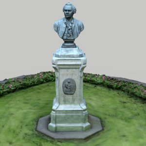 3D lomonosov monument flowerbed model