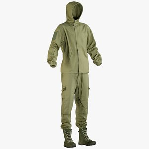3D model realistic military green uniform