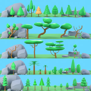 3D forest trees rocks