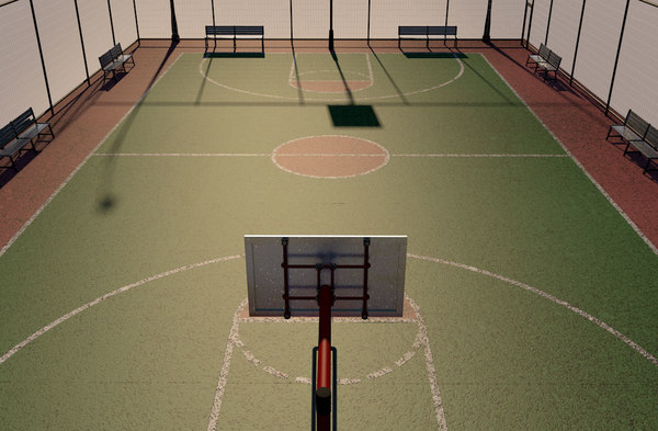 3D street basketball court cancha