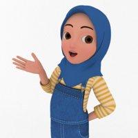 Cartooon Character Hijab Girl Blue Model Basic Rig 3D model
