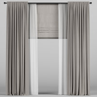 brown roman curtain model