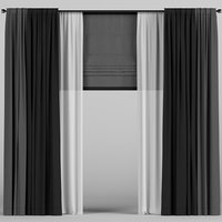 3D tulle dark curtain