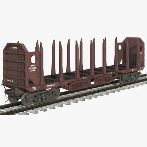 logging car red 3D model
