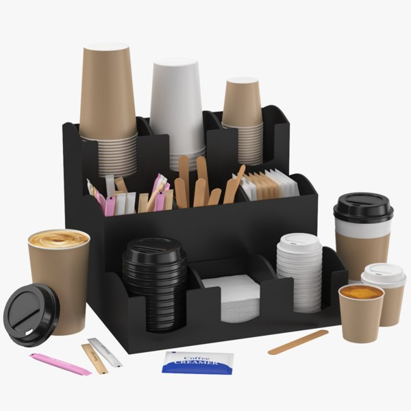 cups organizer dispenser sugar 3D model