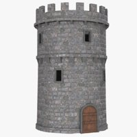 3D model real castle tower