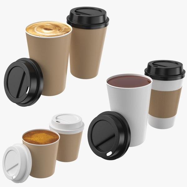 3D model coffee cappuccino paper cup tea