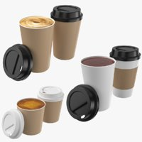 Drinks Paper Cups Collection 3D Model