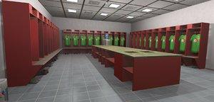 3D simulators football locker room model