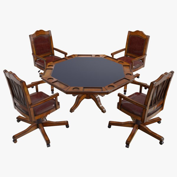 realistic poker table chairs 3D model