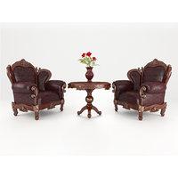 luxury armchair table 3D