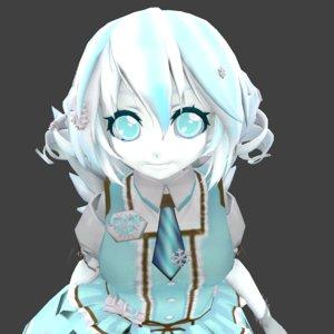 3D girl snow