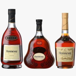 3D hennessy cognac bottles vs