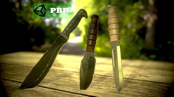 3D ka-bar knife machete model