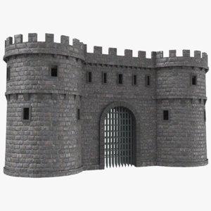 real castle gate 3D