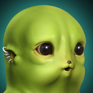3D model head eyes
