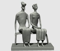 3D king queen sculpture henry model