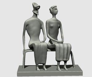 3D king queen sculpture henry model