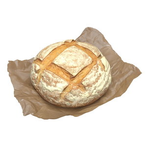3D model bread loaf waxed