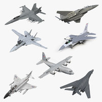3D rigged military airplanes 2