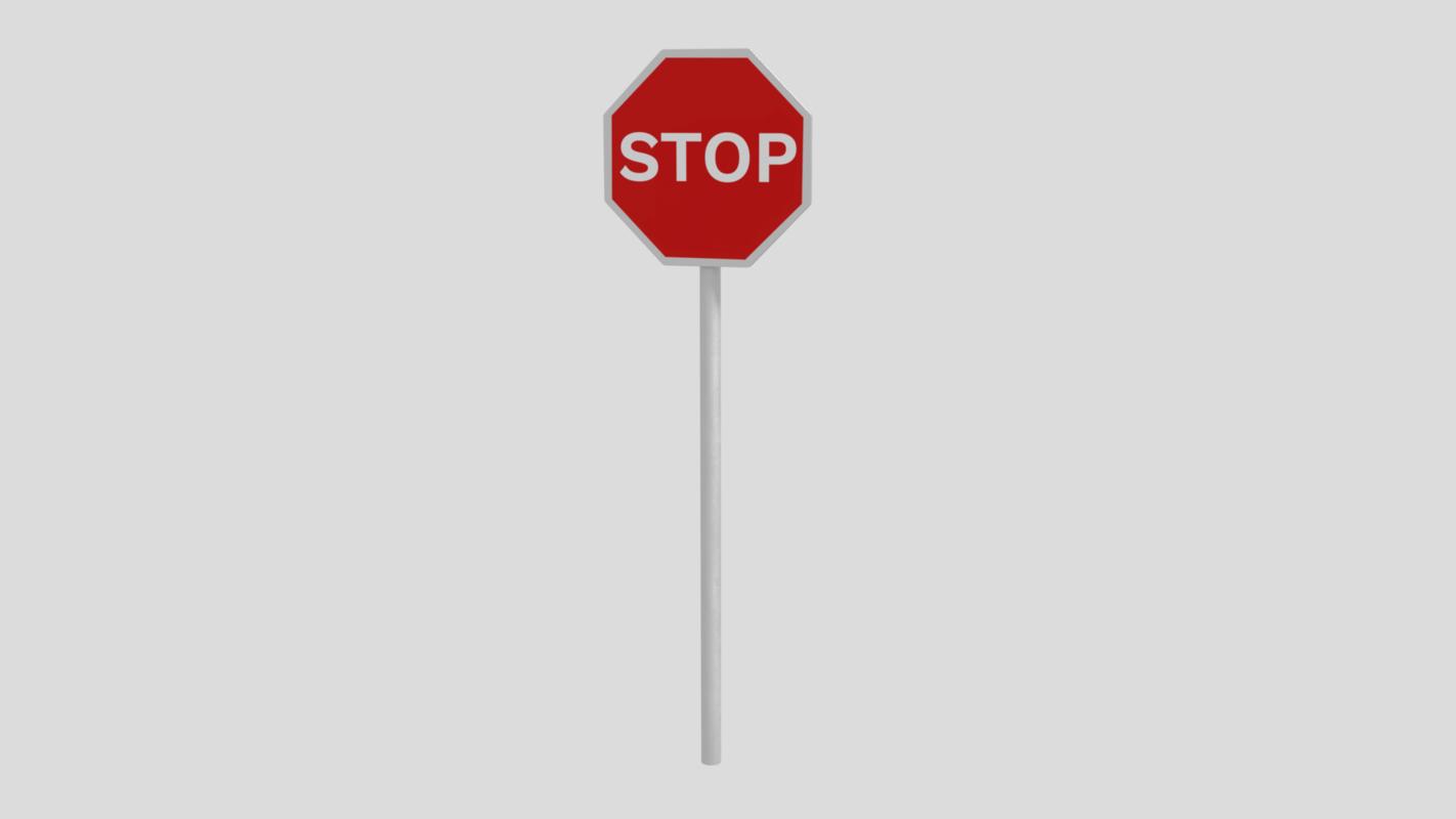 3D traffic stop sign model