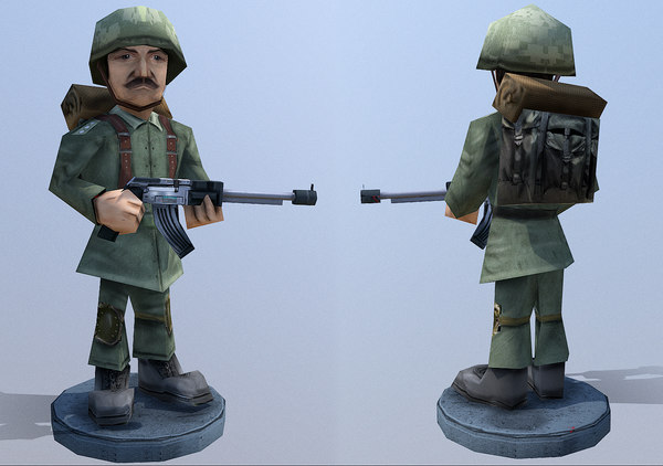 cartoon soldier rigged character 3D