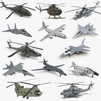 military aircrafts 2 air force 3D model