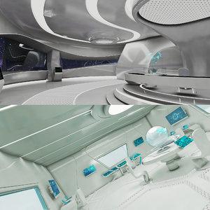 realistic sci-fi control room 3D model