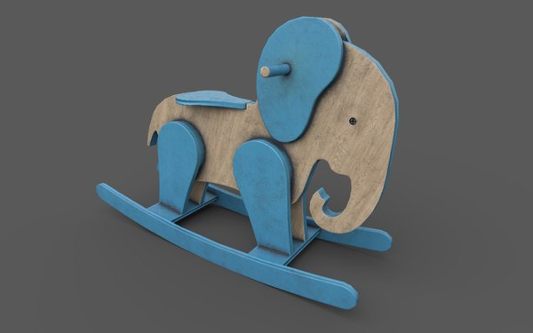 wooden elephant rocking horse 3D model