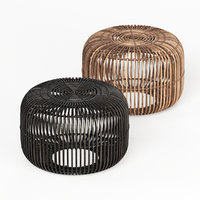 Small Flat Rattan Side Table Natural and Black