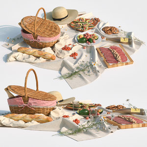basket fruit food 3D