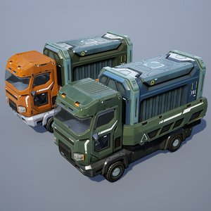 3D truck sci-fi sci model