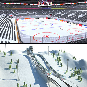 winter sports hockey arena 3D model