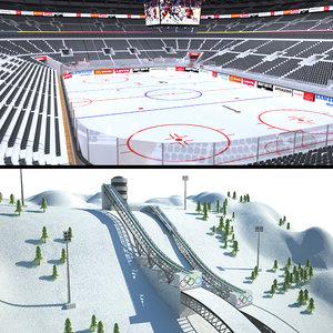 winter sports hockey arena 3D model