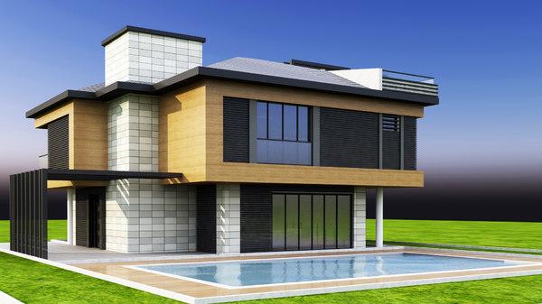 villa pool 3D model