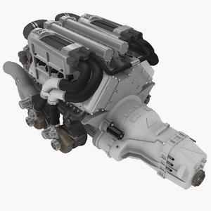 3D w16 engine bugatti veyron model