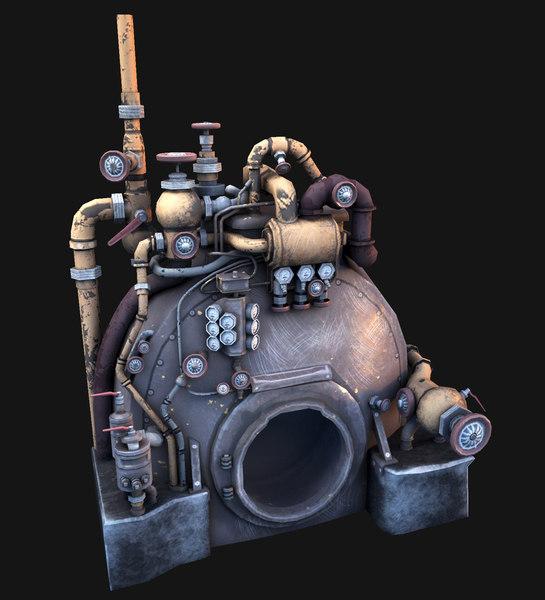 3D steam engine model