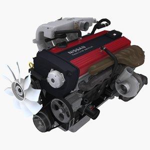 3D nissan rb20det-r 2 0l model
