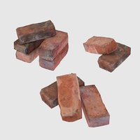 3D red brick pack low-poly