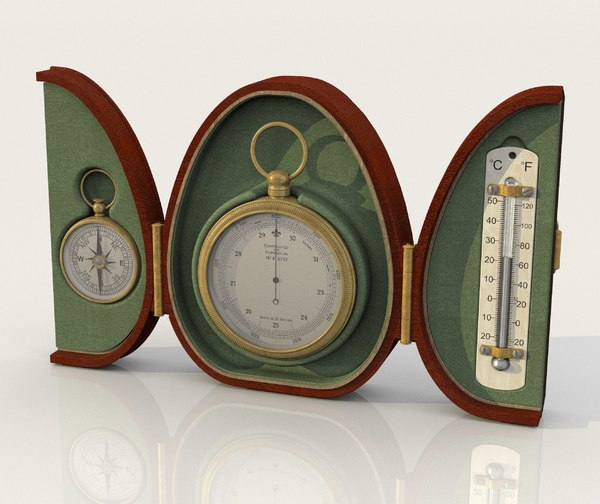 vintage pocket barometer thermometer model