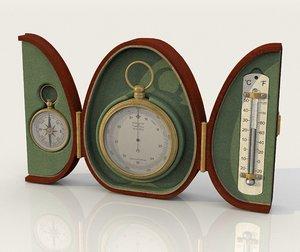 vintage pocket barometer thermometer model
